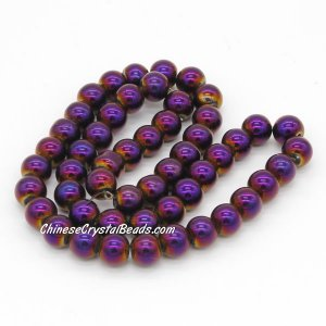 51Pcs 8mm Round Glass Beads, hole 1.5mm, Metalic purple
