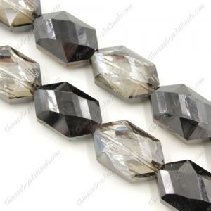 10Pcs Faceted Polygon Hexagon Glass Crystal, dark silver shade, hole:1.5mm (2 size)