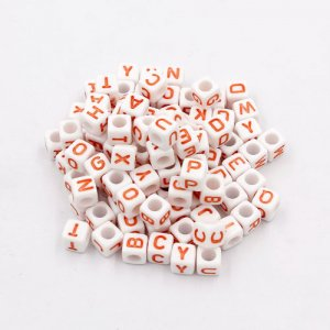 100 Pcs Acrylic Mixed Alphabet Letter Cube Beads hole:3.8mm, 7mm, white and orange letter