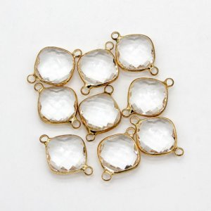 5Pcs 16x23mm clear square Glass crystal Connecter Bezel pendant, Drops Gold Plated two Loops