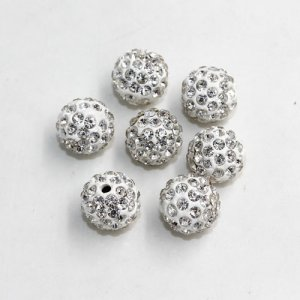 50pcs, 12mm pave beads, hole: 1.5mm, clay disco beads, White