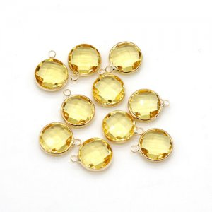 5Pcs 12x15mm citrine Round Glass crystal Connecter Bezel pendant, Drops Gold Plated one Loops