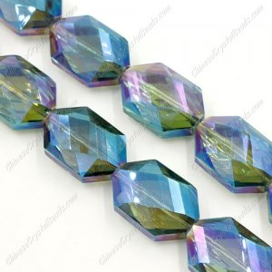 10Pcs Faceted Polygon Hexagon Glass Crystal, green light, hole:1.5mm (2 size)