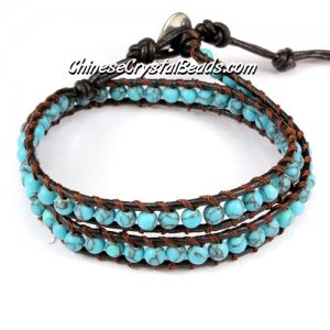 Beaded Wrap Bracelet, 4 turquoise beads, 12.5inch