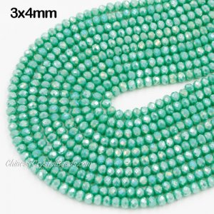 140Pcs 3x4mm Chinese Crystal Rondelle Beads Strand, Turquoise 3 AB