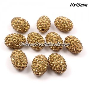 Oval Pave Beads, 11x15mm, Clay, champagen, sold per 10pcs bag