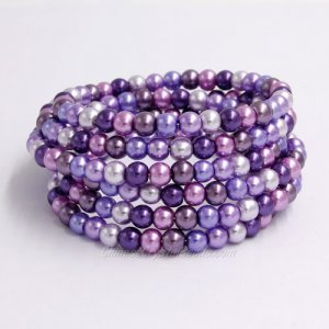 Memory Wire Bracelet, 6mm glass pearl beads, #007