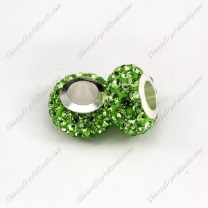 Pave Crystal European Beads, clay base, green, 7x12mm, hole: 5mm, 9 pieces