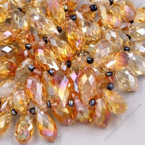 10x20mm, Briolette beads, orange light, 10 beads
