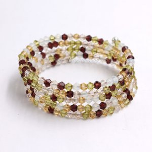 Memory Wire Bracelet, AAA 4mm crystal beads, #001