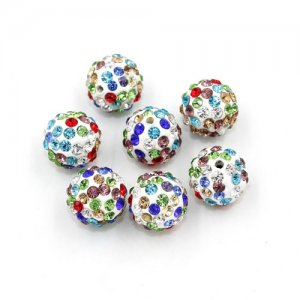 50pcs, 12mm Pave beads, hole: 1.5mm, clay disco beads, mix color