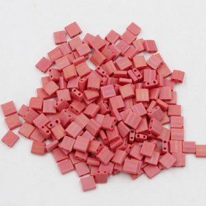 Chinese 5mm Tila Square Bead, opaque red, about 100Pcs