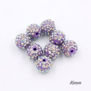 16mm Acrylic Disco Bead violet AB 1 beads