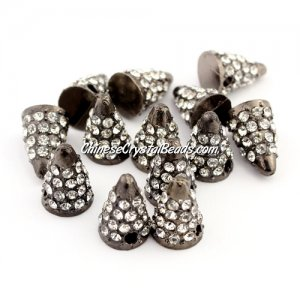 Pave crystl Spike Beads, 14x8x8mm, gunmetal, 10 pieces