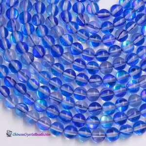 blue Mystic Aura Quartz Beads 6/8/10/12mm Rainbow Holographic Bead Synthetic Moonstone 15.5inch