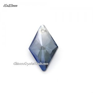 1Pc 15x23mm rhombus crystal pendant, Magic Blue