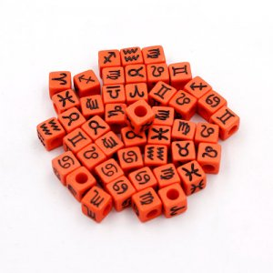 100Pcs Mixed Constellation Cube Acrylic Beads, 7mm, hole: 3.8mm, orange