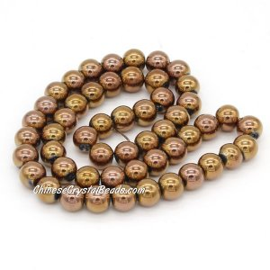 51Pcs 8mm Round Glass Beads, hole 1.5mm, Metalic copper