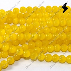 glass cat eyes beads strand, yellow, about 15 inch longer