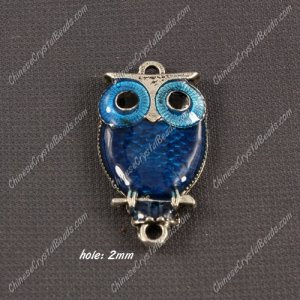 Alloy owl charms, 17x30mm,old silver plated, blue, sold 1 piece