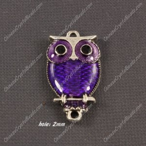 Alloy owl charms, 17x30mm,old silver plated, purple, sold 1 piece
