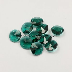 Crystal 14mm Octagon beads, 2 hole, Emerald, 20 beads