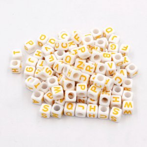 100 Pcs Acrylic Mixed Alphabet Letter Cube Beads hole:3.8mm, 7mm, white and yellow letter