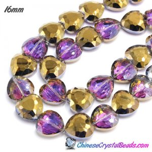 6pcs 16mm heart crystal beads gold and purple light