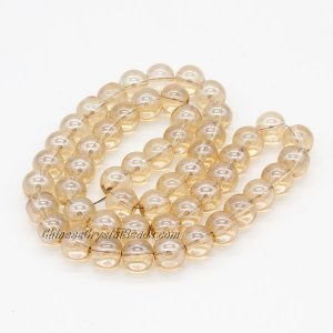 51Pcs 8mm Round Glass Beads, hole 1.5mm, champange light