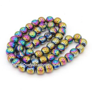 51Pcs 8mm Round Glass Beads, hole 1.5mm, Metalic rainbow