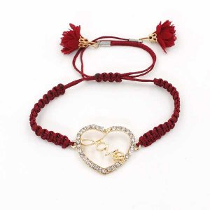 red Woven bracelet pave heart charm #04