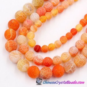 Effloresce Agate Beads Jasper orange color Round 15.5inch