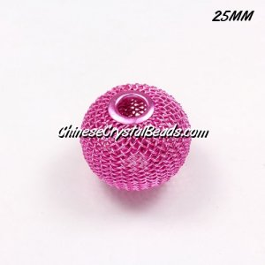 25mm fuchsia Mesh Bead, Basketball Wives, 10 pieces