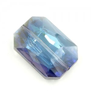 Chinese Crystal Multi-Faceted Rectangle Pendant, blue light, 24 x 33mm, 1pcs