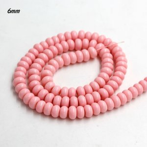100Pcs 6x3.5mm Smooth Roundel Shape Glass Beads, rondelle glass beads strand, hole 1mm, pink