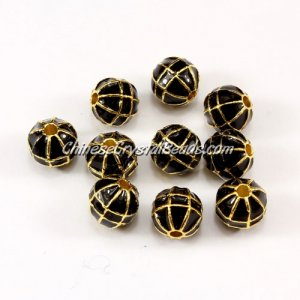 1Pcs Heavy metal spacer beads, 10mm, 2mm hole, round oil dripping earth gold black
