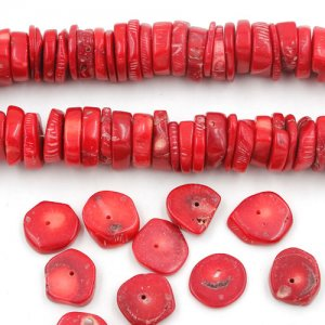 Natural Coral Beads, Nuggets, red, 15x13x2mm-16x14x5mm, Hole:Approx 1mm, Length:Approx 15.5 Inch