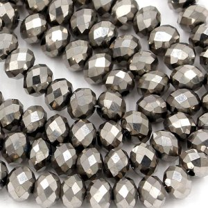 70 pieces 8x10mm 70Pcs Chinese Crystal Rondelle Strand, silver