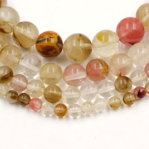 Watermelon Beads, Natural Gemstone Beads round 4mm, 6mm, 8mm, 10mm, 12mm, 15.5 inch