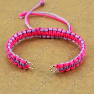 Pave chain, nylon cord, neon fuchsia and lt-violet, wide : 7mm, length:14cm