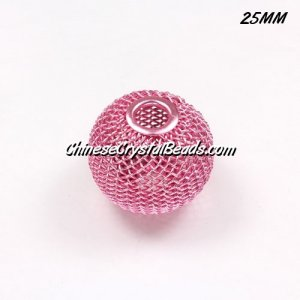 25mm pink Mesh Bead, Basketball Wives, 10 pieces
