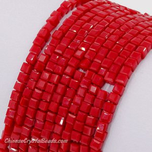 2x2mm cube crytsal beads, opaque red velet 5, 195pcs