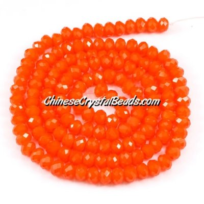 140Pcs 3x4mm Chinese rondelle crystal beads, 3x4mm, opaque tangerine, about 150 beads