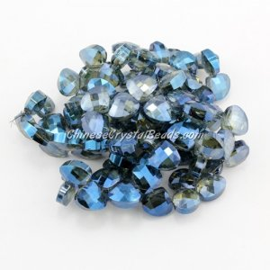 Crystal Flat Briolette beads strand ,9x10mm, blue light, 20 beads
