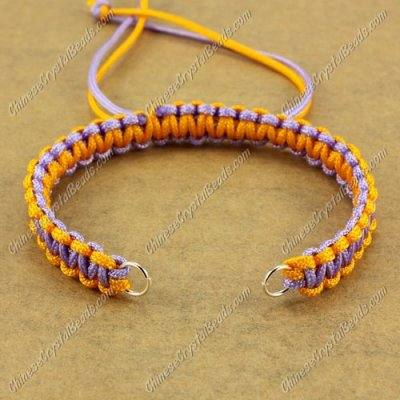 Pave chain, nylon cord, yellow and lt-vilet, wide : 7mm, length:14cm