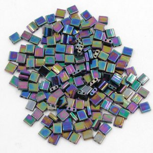 Chinese 5mm Tila Square Bead, rainbow, about 100Pcs