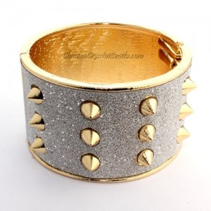 Womens Hinged Bangle Bracelet, Punk, Spike, 40mm wide, Length:60mm