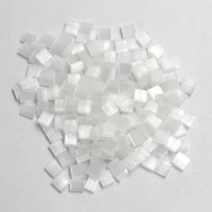 Chinese 5mm Tila Square Bead, white line, about 100Pcs