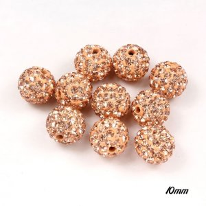 50pcs, 10mm pave (clay) disco beads,peach, hole: 1.5mm