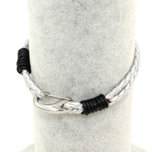 Stainless steel Men's Braided Leather Bracelets Clasp, silver color
